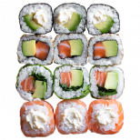 3 maki avocat cheese, 3 california avocat saumon, 3 springrolls avocat saumon, 3 maki délice cheese