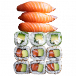 3 sushi saumon, 3 springrolls avocat cheese, 6 california avocat saumon
